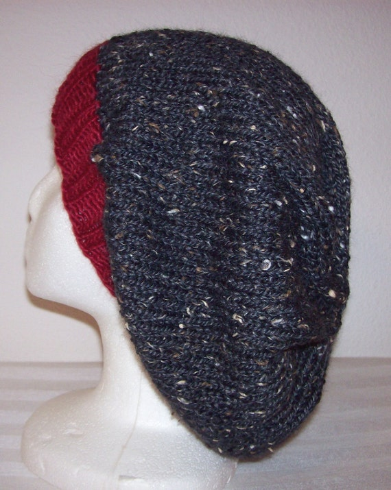Wool/Alpaca-Tweed Slouch Hat - Slouchy Knit Beanie - Knitted Dreads Hat - Charcoal Grey