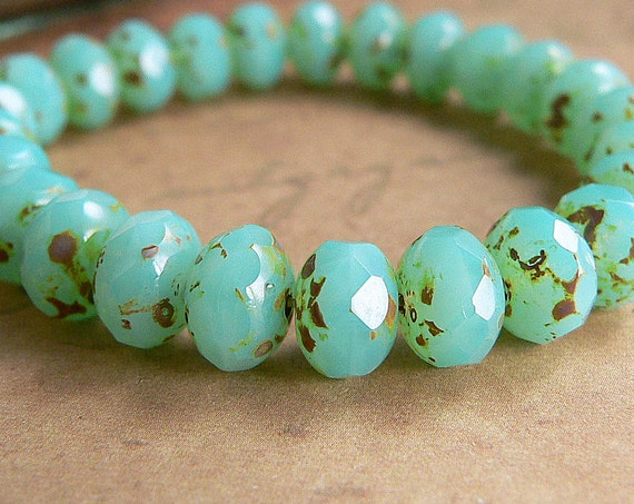 Turquoise Czech Glass Beads Rondell Opalite Picasso Milky Green 6x8mm (12)