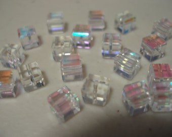 6mm Faceted Cube AB Crystal  Celestial Crystal Beads 18 pcs.  BDBC180