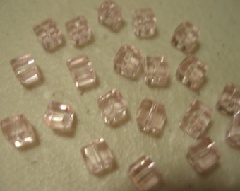 4mm Faceted Cube Crystal Pink Celestial Crystal Beads 20 pcs.  BDBC084