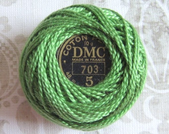 DMC 703 Chartreuse Green Pearl, Perle Cotton Thread Balls Size 5