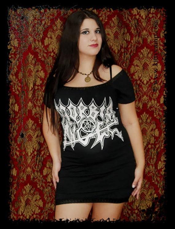 Morbid Angel Metal Off Shoulder Tunic top shirt M L XL