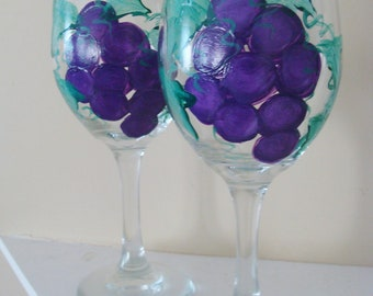 Purple Grapes Wine Glasses, tuscan vineyard, garden, summer patio glass Hand Painted