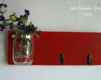 Wood Wall Shelf  Fall Pumpkin Orange Color with 2 Black Hooks Bathroom Kitchen Shabby Cottage Chic