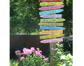 Favorite Places Directional Yard Sign - Handlettered and Handpainted Pickets