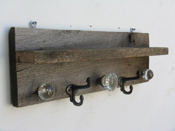 Antique Barnwood Coat Rack And Shelf With Glass Door Knobs And