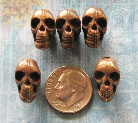Vintage Brass Skull Bead Findings Day Of The Dead DIY Jewelry Pendant Charm Halloween Prop