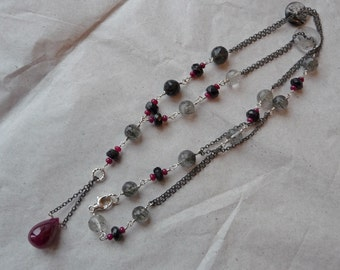 Ruby, oxidized sterling silver, black spinel, tourmalinated quartz, necklace, red, white, black, double chain