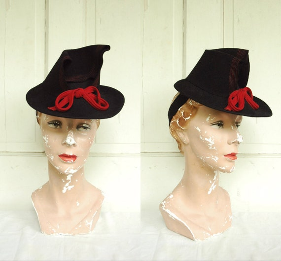 1940s Black Felt Hat / Vintage Janyth Roy Hat