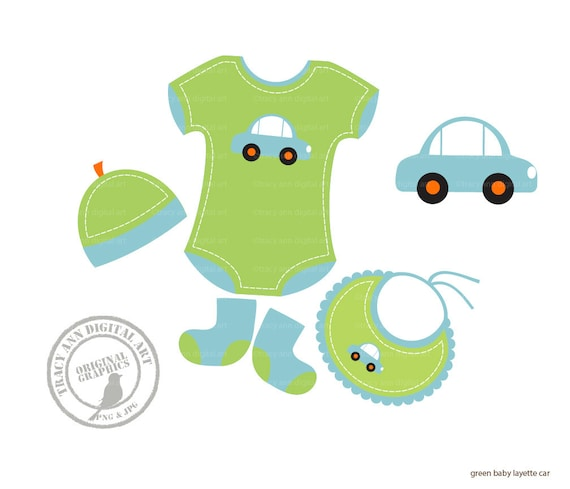 Items similar to Baby Boy Layette Clip Art, Baby Onsie ...