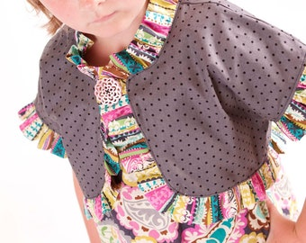 Whimsy Couture Sewing Pattern Tutorial ebook -- Ruffled Bolero -- sizes 12 months- 12 girls PDF Instant
