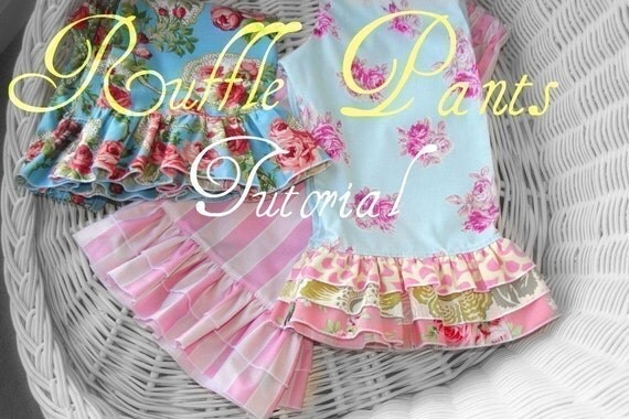 Ruffle Capris Pattern and pants length with Single Double or Triple Ruffle Whimsy Couture  preemie through 10 girls PDF Instant