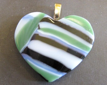 Heart Pendant, Earthy Pendant, Striped Green Black and White, Fused Glass Jewelry - Sentimental - 3899 -2