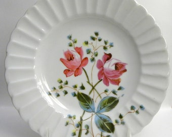 Hand-Painted Rose Plate circa 1900