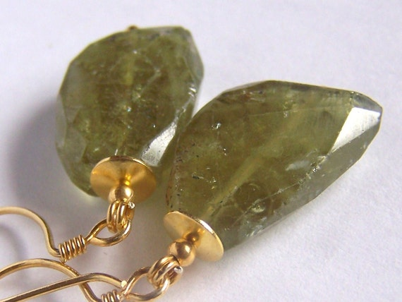 Faceted Natural Green Vesuvianite Vessonite Earrings in Gold Vermeil SPARKLY
