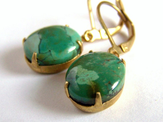 Cased Natural Turquoise Earrings with Leverbacks Gorgeous