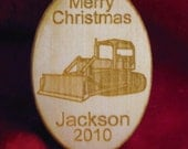 Wooden ornament - Personalized wooden Christmas bulldozer 2015 ornament