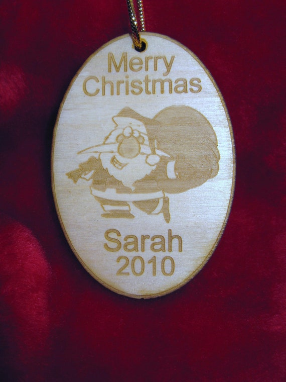 Personalized wooden christmas 2016 Santa Claus ornament tag