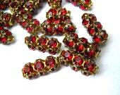 2  Vintage SWAROVSKI  beads red rhinestones crystals in metal setting genuine 1100 made in Austria