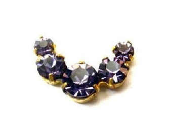 Vintage Swarovski jewelry findings 5 rhinestone crystals in brass setting curve design, purple