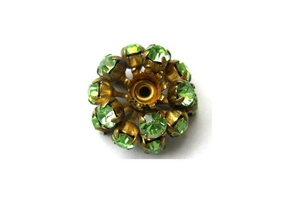 SWAROVSKI BEADS antique vintage  metal flower with green crystals- RARE