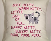Soft Kitty Embroidered Pillow Case Cover