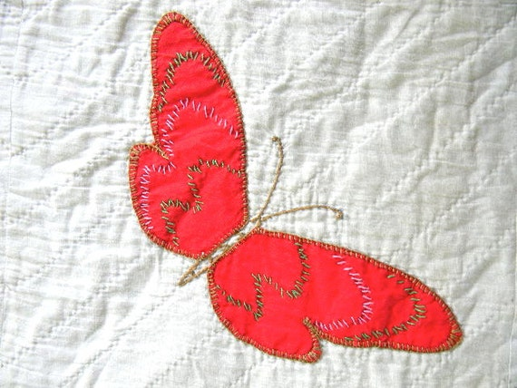 vintage butterfly pillow cover no. 22 in red