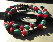 rare Black Spinel, Turquoise & Coral Southwestern style ARTISAN necklace