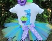 Baby Girl 1st Birthday Tutu Set - Cupcake Tutu Outfit - Cake Smash Set