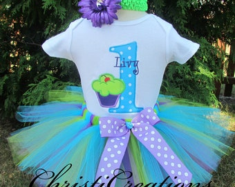 1st Birthday Outfit Girl - Cake Smash Outfit Girl - 1st Birthday Tutu - Cupcake Tutu Outfit