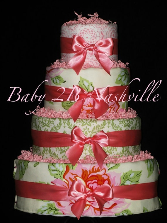 Diaper Cake for Girls Baby Diaper Cake 4 tiers Calling All Roses