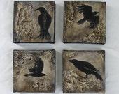 Black bird painting, raven, crow, mini canvas original art  4x4 SET OF FOUR made to order