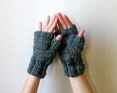 Fingerless Mittens Knitted in Dark Grey Acrylic Wool Blend Yarn