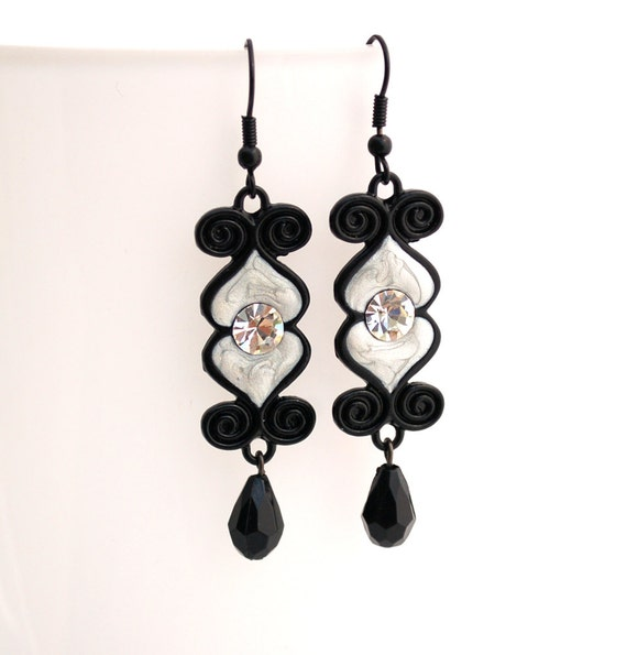 Silver and Black Enamel Earrings Buy 3 Get 1 Free
