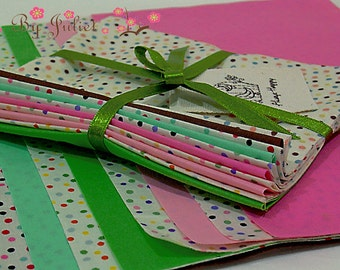 Fabric Japan Cotton Sweet Polka Dots mix Solid 10 Assorted Assortment  Mixed Color New Bundle Designs scrap pack grab kit collection set lot