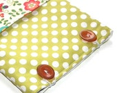 Dots and Flowers iPad pouch with pocket for notes, mobile phone, etc