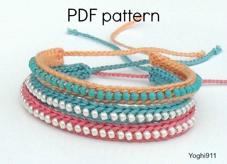 Crochet Hat Patterns With Beads : PDF Pattern Crocheted Beaded Friendship Bracelet