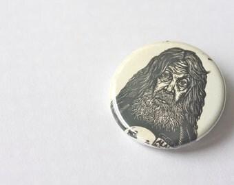 Alan Moore Button, Pin Back Button, Alan Moore, Watchmen, Button