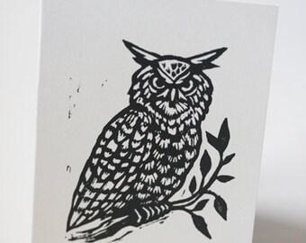 Owl Linocut Blank Greeting Card