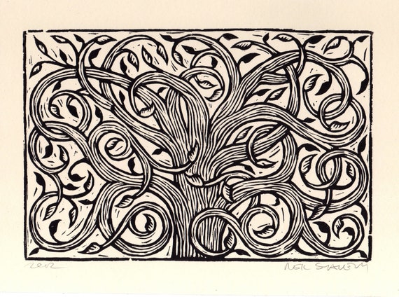 Art, Tree Linocut Art Print, Hand Printed Tree, Intricate Tree Print, Nature Art, Linocut Print