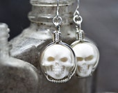 Carved Cow Bone Round Skull Cameo Sterling Silver Wire Wrapped Earrings