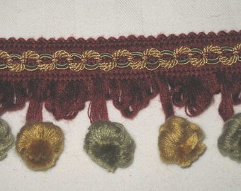 Vintage Ball Trim Ochre Gold, Sage Green and Burgundy Red 17 yds.