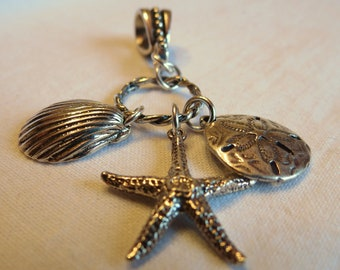 Under the Sea charm pendant with Starfish Sand Dollar and clam shell