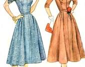 Vintage 50s Dress Pattern - Simplicity 4300 - Kimono Sleeves - Shawl Collar - Bust Gathers - Size 20