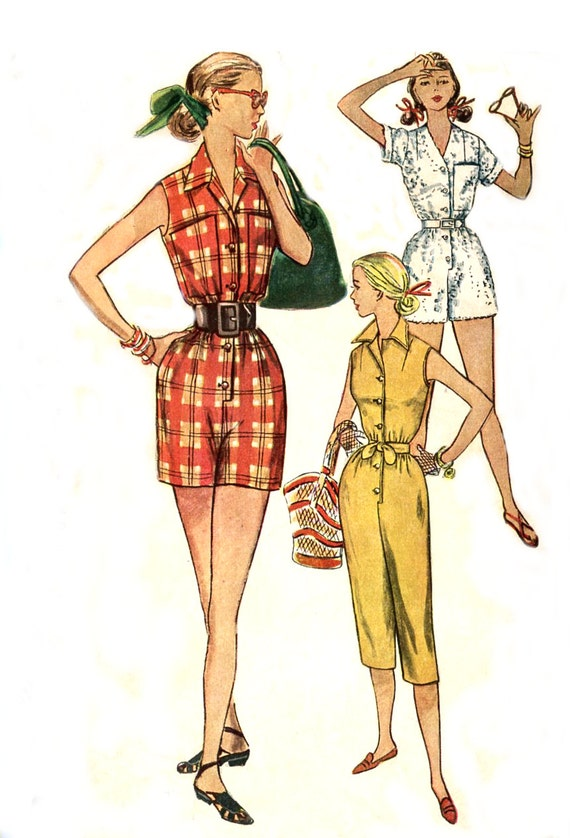 1950s One Piece Coverall Pattern - Simplicity 4337 - Three Lengths - Button Front - Size 14