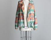 Reserved for Ginger - SOUTHWESTERN JACKET 1990s Vintage Southwest Pattern Zip Up Jacket