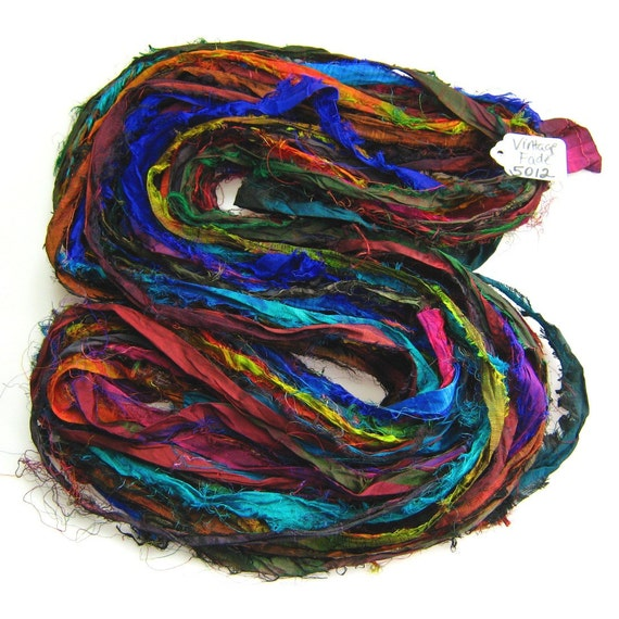Multi color Silk Sari ribbon soft soak Vintage FADE