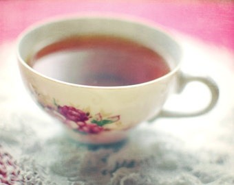 """Tea cup photograph kitchen wall art pink flowery vintage cup still life cottage chic crochet lace  """"Infusion"""""""