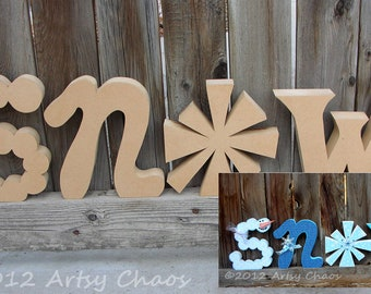 FREE SHIPPING Unfinished Wood SNOW Letters