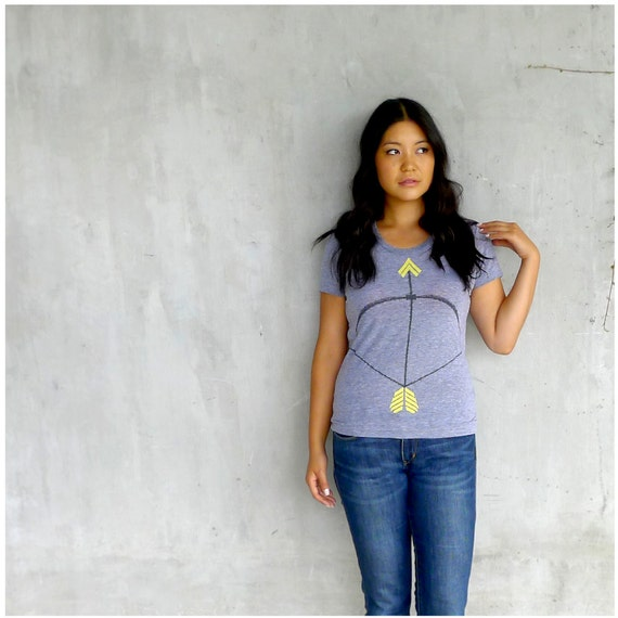 Womens t shirt - gray and neon yellow - S-XL - tribal bow and arrow print on American Apparel track tees - THE Headhunter